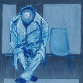 Elizabeth Bogard: 'Jet Lag', 2011 Acrylic Painting, Figurative. Artist Description:  man, person, chairs, seats, waiting, blue, travel, station, seated, tired, exhausted, asleep, dreaming, waiting, layover, sleeping, lonely, alone, airport, train, bus, bus station,  ...
