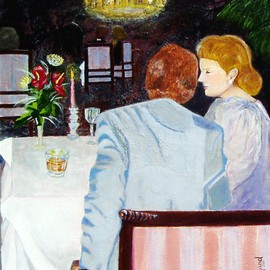 Elizabeth Bogard: 'Last Conversation', 2011 Acrylic Painting, Love. Artist Description:  love, life, new year' s eve, eating, romance, romantic dinner, couple, man and woman, dining, elegant dinner, conversation, celebration, couple celebrating, holiday, crystal, tablecloths, candles, chandelier, waiters, tables and chairs, chairs, hotel dining room, hotel, special evening, New Year' s Celebration, in love, marriage, married couple    ...