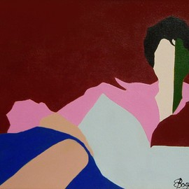 Elizabeth Bogard: 'Reader in Jewel Tones', 2008 Acrylic Painting, Abstract Figurative. Artist Description: woman, female, beauty, reclining figure, reclining female, reclining pose, contemporary, blue, burgundy, brown, pink, POP, Warhol, modern,     ...