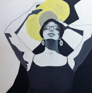 Elizabeth Bogard: 'Sun Worshiper self portrait ', 2015 Mixed Media, Abstract Figurative.     abstract representative paintings, abstract figurative paintings, mixed media paintings, collage paintings,  paper collage paintings, black and white paintings, yellow paintings, portrait paintings, abstract paintings, woman paintings, beautiful woman paintings, feminine paintings, sun paintings, sunny paintings, high contrast paintings, abstract collage paintings, white paintings, photographic paintings, entrance hall paintings, summer paintings...