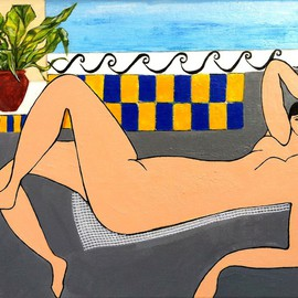 Elizabeth Bogard: 'Sunbath, Homage to Henri Matisse', 2013 Acrylic Painting, Abstract Figurative. Artist Description:   Matisse painting, Fauve painting, Female painting, female figure painting, nude painting, woman painting, sunbath painting, patio painting, Rivera painting, vacation painting, poolside painting, female beauty painting, tilework painting, seaside painting, seascape painting, suntan painting, sun painting, blue painting, yellow painting, grey painting, abstract painting, abstract figurative painting ...