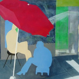 Elizabeth Bogard: 'Under the Umbrella', 2010 Acrylic Painting, Abstract Figurative. Artist Description:  friends, boys, Italy, Spain, sidewalk, urban, cityscape, shoes, umbrella, tourists, tourist, male, men, boy, teen, teens, shoeshine, summer, hat, blue, red, white, gray  ...