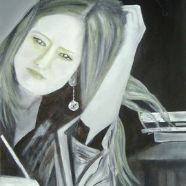 Elizabeth Bogard: 'Writer', 2009 Acrylic Painting, Portrait. Artist Description:  This is an acrylic painting of a young woman who is a writer. I created it from a photograph I took of her in London, May 2009. ...