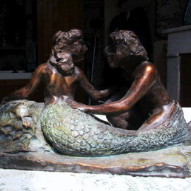 Andrew Wielawski: 'Mermaid and Fisherman', 2007 Bronze Sculpture, Abstract Figurative. Artist Description:  In this piece, I'm going more for movement than for detail, as you can see from the lack of definition of the features. Color is used as well as the positioning of the figures, to try to create an harmonious composition. ...