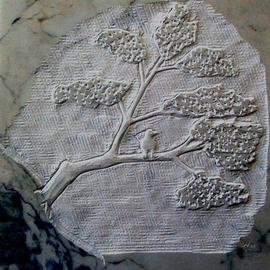 Andrew Wielawski: 'Tree with Bird', 2008 Stone Sculpture, Abstract Landscape. Artist Description:  Passing the time until a block for a large sculpture came to Mexico, I carved this tree on a tile I found lying around the workshop. ...