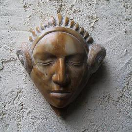 Andrew Wielawski: 'giallodi Sienna Mask', 2002 Stone Sculpture, Figurative. Artist Description: The mask has Sicilian and Mexican influences, and is carved out of yellow Sienna marble. I use it often an element in my work because of the color being so strong....