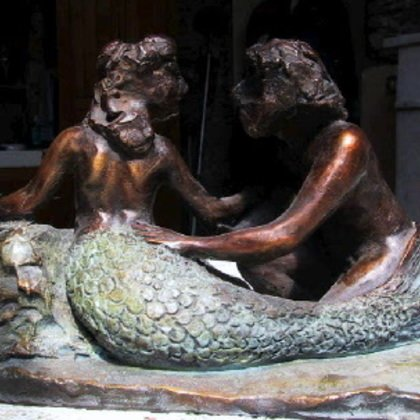 , Mermaid And Fisherman, Abstract Figurative, $3,675