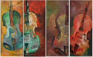 Mihaela  Ionescu: 'happy violins', 2017 Oil Painting, Music. Artist Description: aEURoeaEUR|the violin aEUR