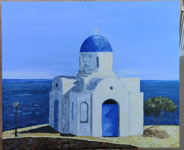 Elena Lavski  'St Nicholas Church', created in 2020, Original Painting Oil.