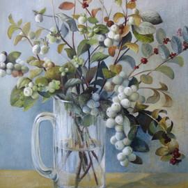 Elena Oleniuc: 'Stepping to another season', 2009 Acrylic Painting, Still Life. Artist Description:  acrylic, canson paper, art, painting, still life, flowers, berries    ...