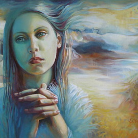 Elena Oleniuc: 'Wandering with thoughts', 2013 Acrylic Painting, Portrait. Artist Description:   portrait, woman, feelings, symbolism, landscape     portrait, child, girl, face      ...