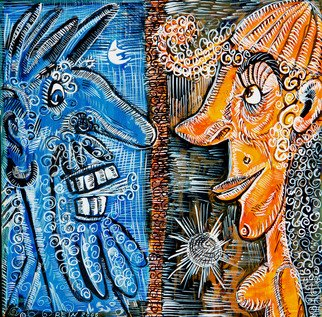 Elena Rein: 'Blues: Couple', 2006 Ink Painting, . Artist Description:  Acrylic Ink on Paper ...