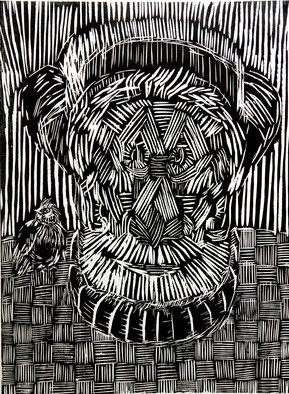 Elena Rein: 'Old Man and Bird', 1995 Woodcut, Undecided.