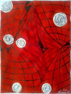 Artist: Elena Solomina - Title: RED GALAXY 2 - Medium: Acrylic Painting - Year: 2011