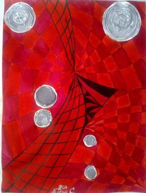 Artist: Elena Solomina - Title: RED GALAXY 4 - Medium: Acrylic Painting - Year: 2011