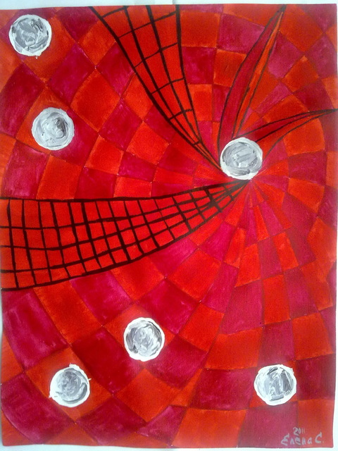 Elena Solomina  'RED GALAXY 5', created in 2011, Original Painting Acrylic.