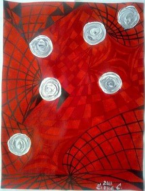 Artist: Elena Solomina - Title: RED GALAXY ACRYL ON CANVAS  12x16 inch - Medium: Acrylic Painting - Year: 2011