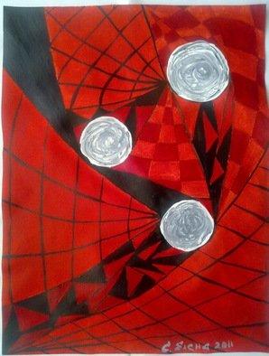 Artist: Elena Solomina - Title: RED  GALAXY 3 - Medium: Acrylic Painting - Year: 2011