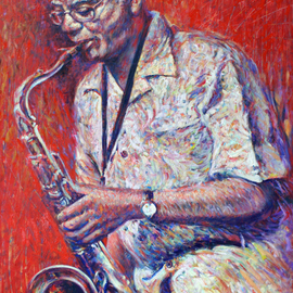 Ruben Valdes Montano: 'The sax', 2012 Oil Painting, Figurative. Artist Description:      Joy of experiencing feelings as sensations, touch, breath, taste life, erotics emotions and projection of your fantasy and imagination.     ...