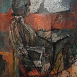 Elham Ghorbani: 'untitled', 2016 Acrylic Painting, Figurative. Artist Description: Sitting woman, is a subject which art had been experienced it during different periods of history From classic to modern painters  and at times, due to insistence on this subject, it had been extended to a dispute is various fields.Me, far away from all social and civil ...