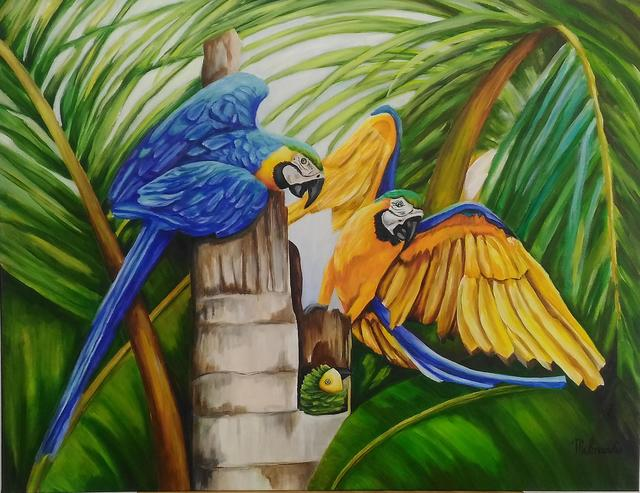 Eliana Molnar  'The Baby Macaws Has Arrived', created in 2020, Original Painting Acrylic.
