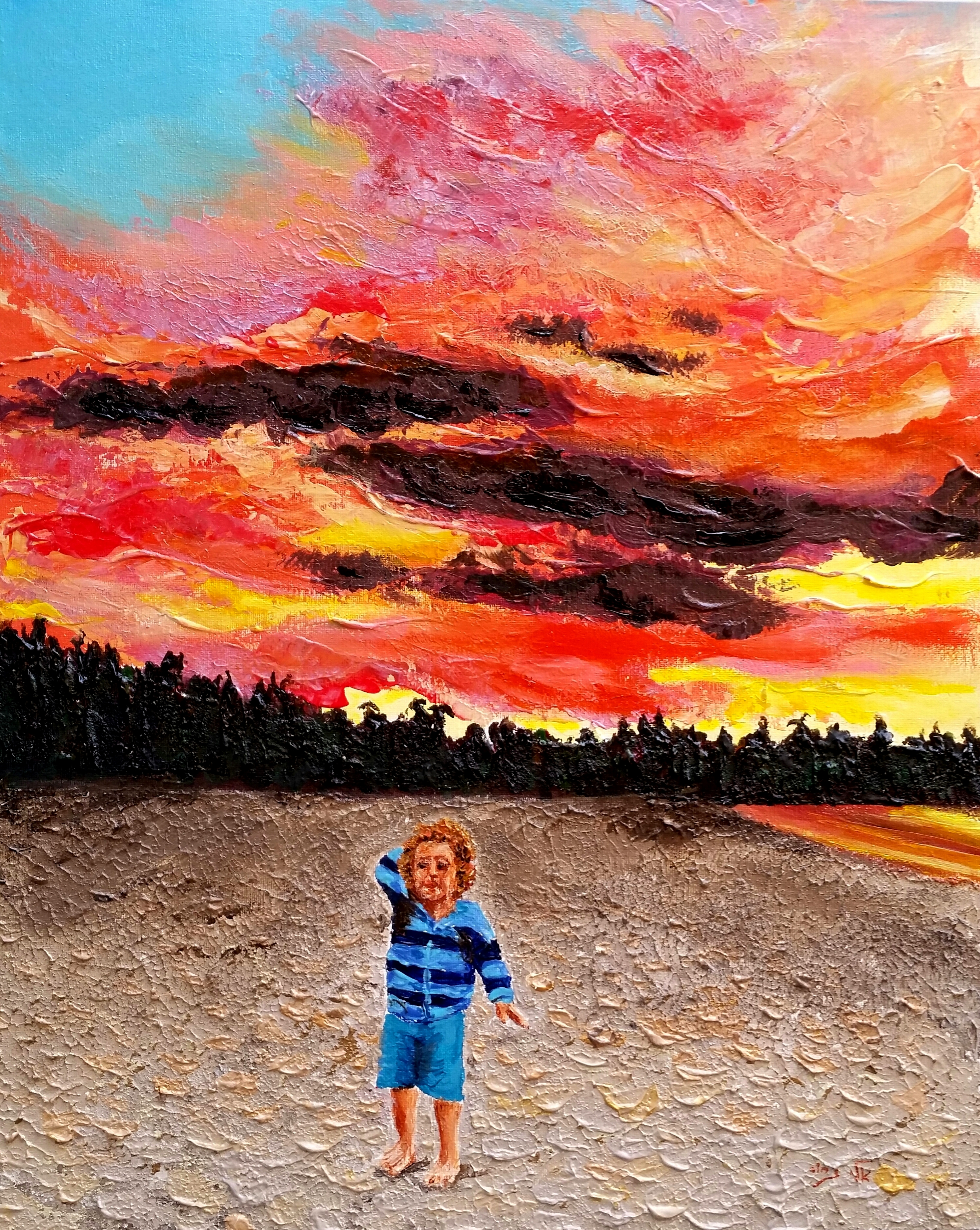 clouds and colors blend at sunset acrylic painting by eli gross absolutearts com absolutearts com