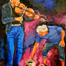 Eli Gross Artwork  He played the violins  crying softly , 2016 Acrylic Painting, People