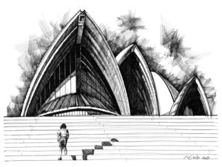 Andre Vesyelkin: 'run up to opera', 2003 Ink Drawing, Architecture. This is one of several observational drawings executed in traditional Pen and Ink technique on heavy stock paper. The drawing depicts a boy, running up the main stairs to Sydney Opera House on a sunny day. The drawing had been completed shortley after visiting the actual Opera House in Sydney ...