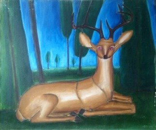 Vyacheslav Panichev: 'deer in the forest', 2016 Oil Painting, Animals. Artist Description: reindeer, deer, stag, forest, field, edge, glade, lawn, meadow, woodlands...