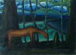 Vyacheslav Panichev: 'moose', 2016 Oil Painting, Animals. Artist Description: forest, field, edge, glade, lawn, meadow, woodlands, Moose...