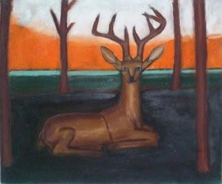 Vyacheslav Panichev: 'red deer', 2016 Oil Painting, Animals. Artist Description:  reindeer, deer, stag, forest, field, edge, glade, lawn, meadow, woodlands...