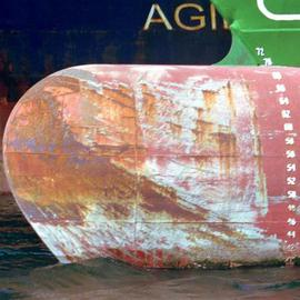 Ellen Spijkstra: '34', 2001 Color Photograph, Marine. Artist Description: The bow of a cargo ship in front of tanker. Rusty orange, bright green white and dark blue.Laminated with a clear, semi- matt UV protection layer. ...