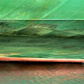 Ellen Spijkstra: '59', 2003 Color Photograph, Marine. Artist Description: Detail of a cargo ship; bright green with a red line, green reflections in the water....