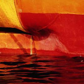 Ellen Spijkstra: '6', 2002 Color Photograph, Marine. Artist Description: Detail of the stern of a ship; bright red, orange and yellow, dark red reflections in the water.Laminated with a UV- protection layer. ...