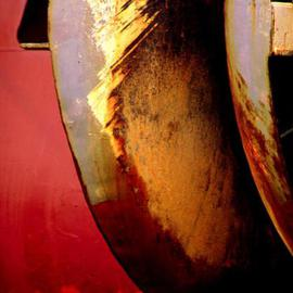 Ellen Spijkstra: '9', 2002 Color Photograph, Marine. Artist Description: Detail of a ship; bright red, rusty orange and grey.Laminated with a semi- matt UV protection layer. ...