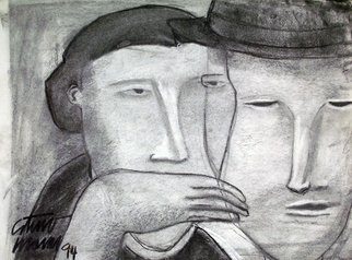 Arturo Morin Artwork EL SECRETO, 1994 Charcoal Drawing,