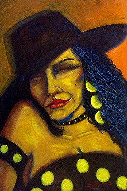 Artist: Elio Lopez - Title: Mujer con sombrero 2 - Medium: Oil Painting - Year: 2007