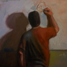 Gregory Elsten: 'The Illustrator', 2012 Oil Painting, Figurative. Artist Description:           figurative          ...