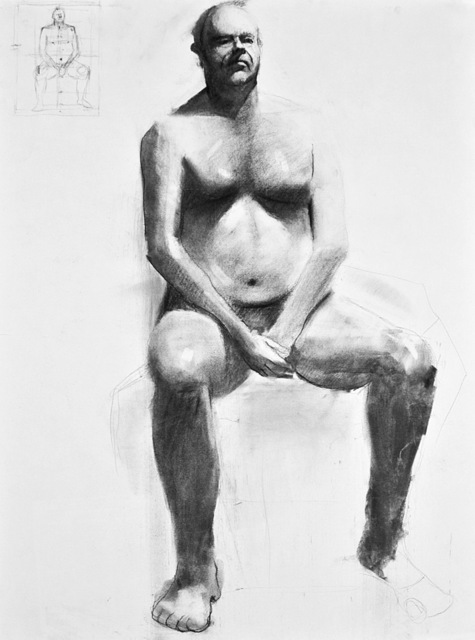 Gregory Elsten  'Seated Man', created in 2009, Original Drawing Charcoal.