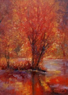 Emilia Milcheva: 'autumn glory', 2018 Oil Painting, Landscape. Artist Description: I am practically in love with every tree. They are so beautiful in my eyes. So beautiful in their various stages of metamorphosis. So beautiful in their dramatically changing conditions and moods. So beautiful that they became my favorite subject to paint. I love the energy that I ...