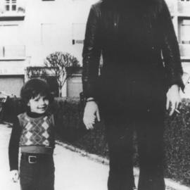 Emilio Merlina: ' so long time ago  but still friends', 1974 Black and White Photograph, Inspirational. Artist Description: I didn' t photograph this one but I like to put something of my past in here , me and my son. ...