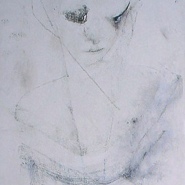 Emilio Merlina Artwork a strange stare in my Guardian Angel eyes, 2009 Charcoal Drawing, Inspirational