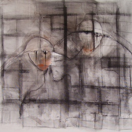 Emilio Merlina Artwork on the other side of the window, 2008 Charcoal Drawing, Inspirational