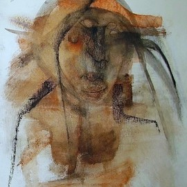 Emilio Merlina Artwork the medicine man is back, 2008 Charcoal Drawing, Inspirational