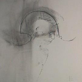 Emilio Merlina Artwork the messenger, 2009 Charcoal Drawing, Inspirational