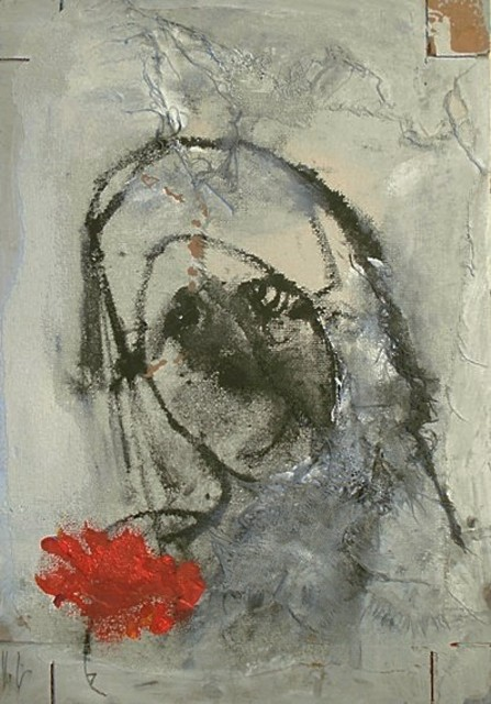 Emilio Merlina: the red rose, 2017 Mixed Media