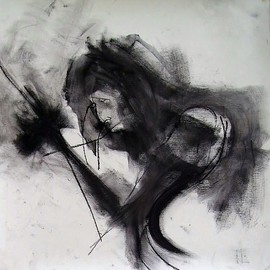 Emilio Merlina Artwork welcome back home said the Joker to me, 2008 Charcoal Drawing, Inspirational