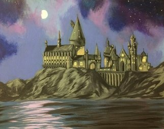 Emily Shearer: 'magical night', 2018 Acrylic Painting, Fantasy. Artist Description: Hogwarts Castle with lake and mountains at night ...