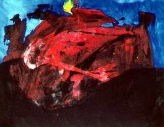 Michael Emmert: 'Roter Berg', 1994 Acrylic Painting, Abstract Landscape.