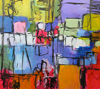 Acrylic Painting by Engelina Zandstra titled: Composition 3324, 2014